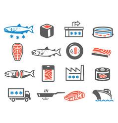 salmon farming icon set aquaculture and vector image