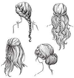 set different hairstyles vector image