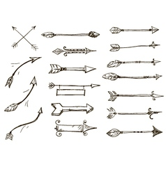 set of doodle arrows tribal style vector image