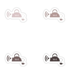 Set of paper sticker on white background Wi-Fi vector