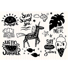 Set summer icons and design elements vector