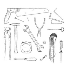 set working tools hand drawn black and white vector image
