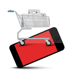 shopping cart on mobile phone web application vector image