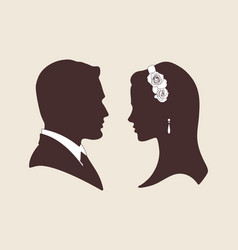 Silhouettes of groom and bride vector