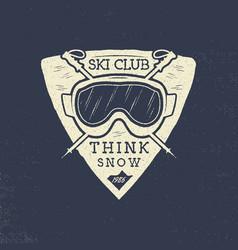 ski club patch design winter sports badge vector image