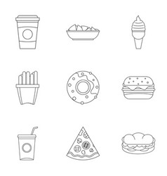 Snacks icon set outline style vector