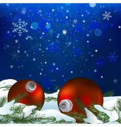 Snow branches balls vector image