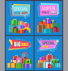 Special offer half price super discounts adverts vector