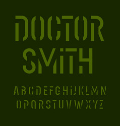 stencil font alphabet letters military style vector image