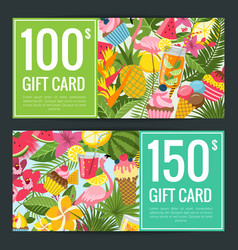 summer cocktails palm leaves discount vector image
