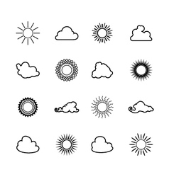 Sun and Cloud Line Style Design vector