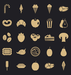 Tasty treats icons set simple style vector