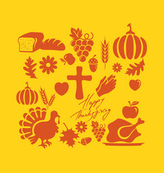 Thanksgiving and inscription symbols vector