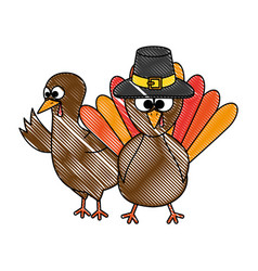 Thanksgiving turkeys with hat character icon vector