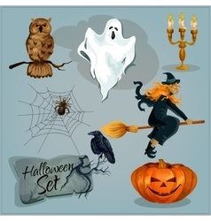 Traditional Halloween characters vector