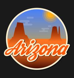 travel arizona destination retro round icon vector image