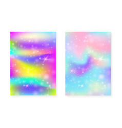 Unicorn background with kawaii magic gradient vector