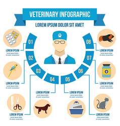 Vet clinic infographic concept flat style vector