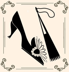 Vintage shoe and fan vector