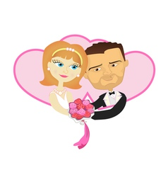 Wedding lovely wife and husband holding in double vector image