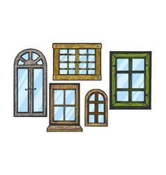windows wooden color sketch engraving vector image