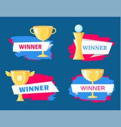 Winner cup and statuette variety cartoon poster vector