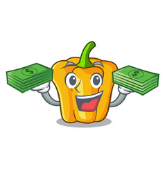 With money sweet yellow pepper in the kitchen vector