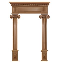 Wooden arch portal door with columns vector