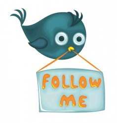 bird with follow me sign vector image vector image