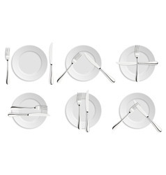 Dining etiquette forks and knifes signals vector image vector image