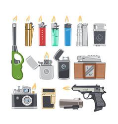 lighter cigarette-lighter with fire or vector image