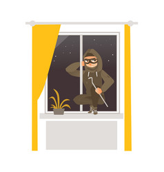thief in mask breaking into house through window vector image