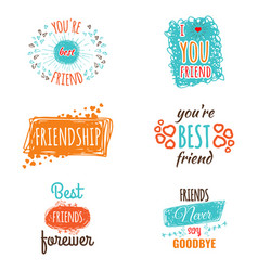 friendship logos set with text labels vector image vector image