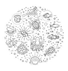 Marine life icon set Nautical design elements vector image vector image