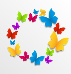 Spring card with colorful butterflies circle vector
