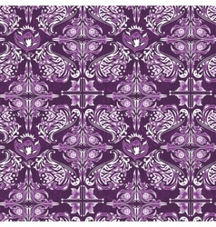 White on purple damask pattern vector image