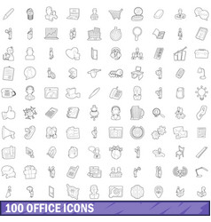 100 office icons set outline style vector image