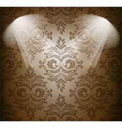 Abstract damask pattern in brown color vector image vector image