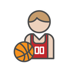 basketball player avatar icon on white background vector image