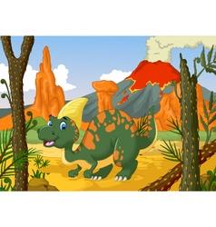 cute parasaurolophus cartoon with volcano vector image