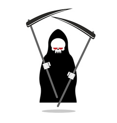 Death with two scythe Ferocious Grim Reaper with vector image