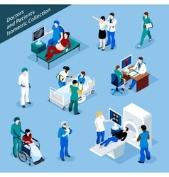 Doctor And Patient Isometric People Icon Set vector image vector image