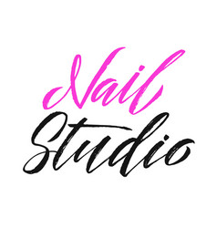 nail studio logo beauty lettering manicure vector image vector image