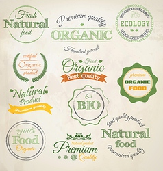 Retro styled organic labels vector