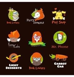 Set of bright cartoon style logos vector image vector image
