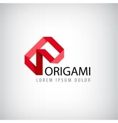 abstract red logo origamilogo ribbon vector image