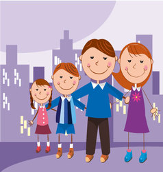 family in the city vector image vector image