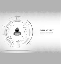 hacker working on digital white background vector image