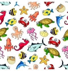 Sea ocean animals fish seamless cartoon pattern vector image vector image