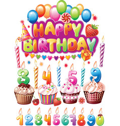Set for Birthday cards vector image